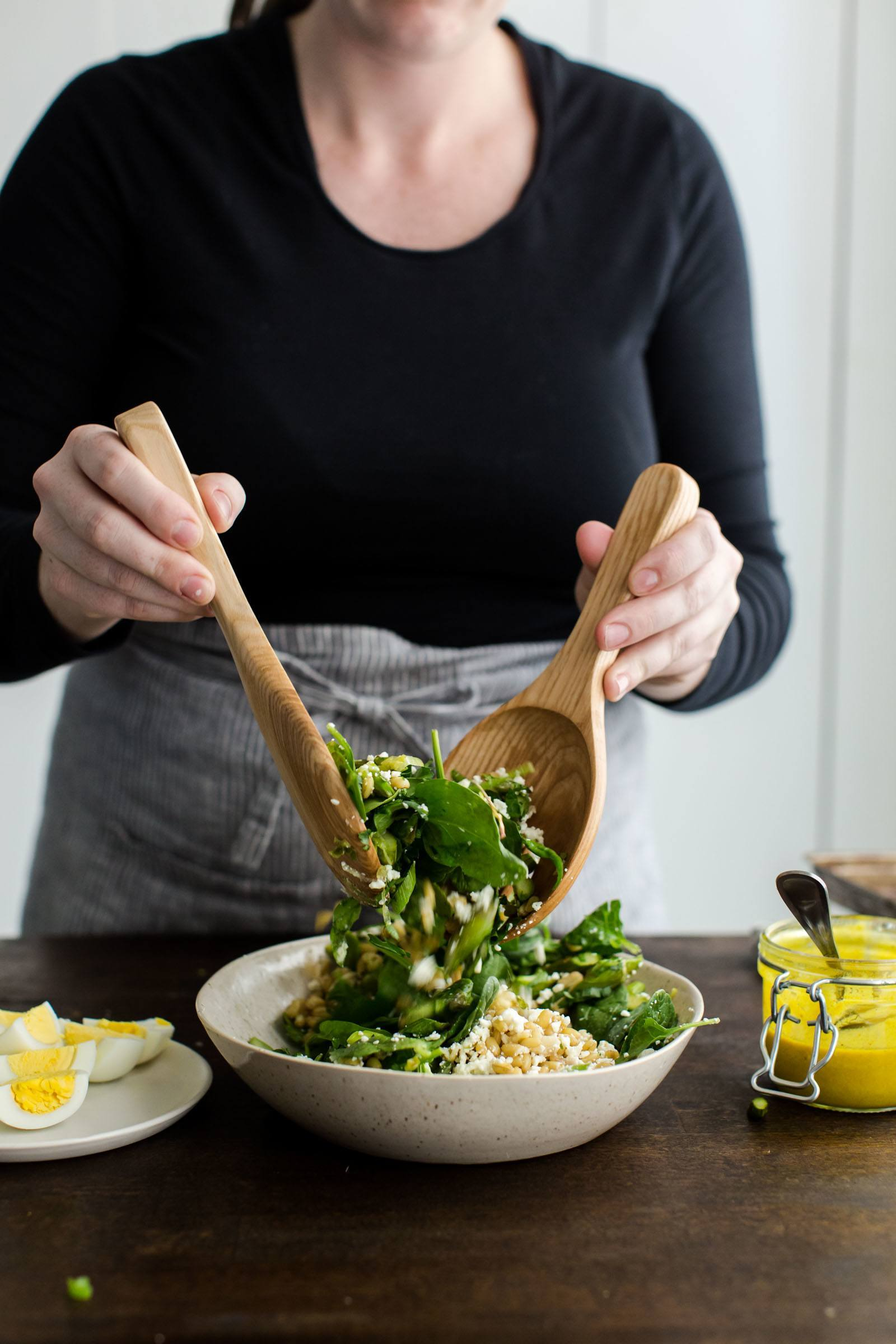 Asparagus Salad with Turmeric Tahini Dressing and Egg