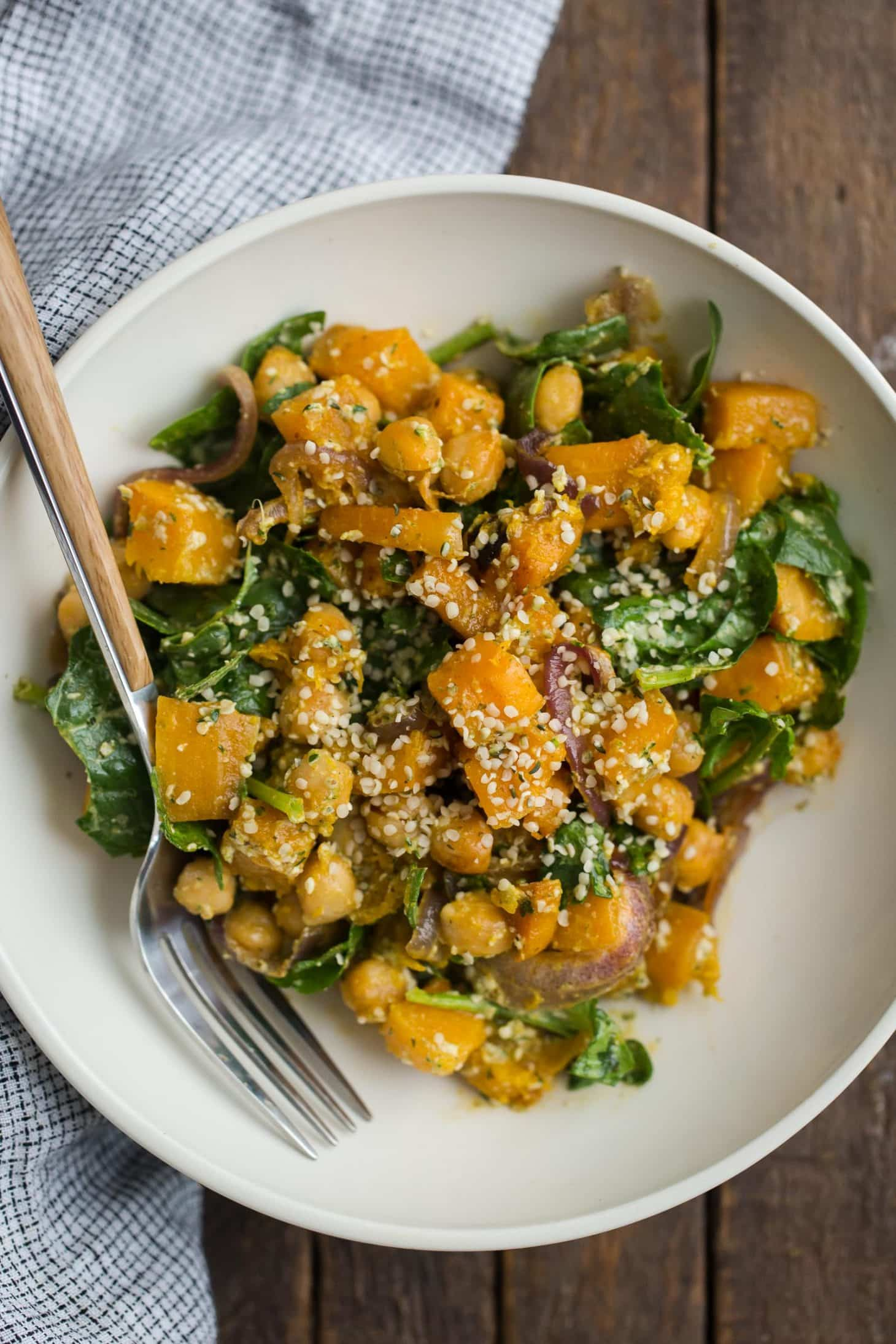 Chipotle Roasted Butternut Squash Salad with Hemp Dressing
