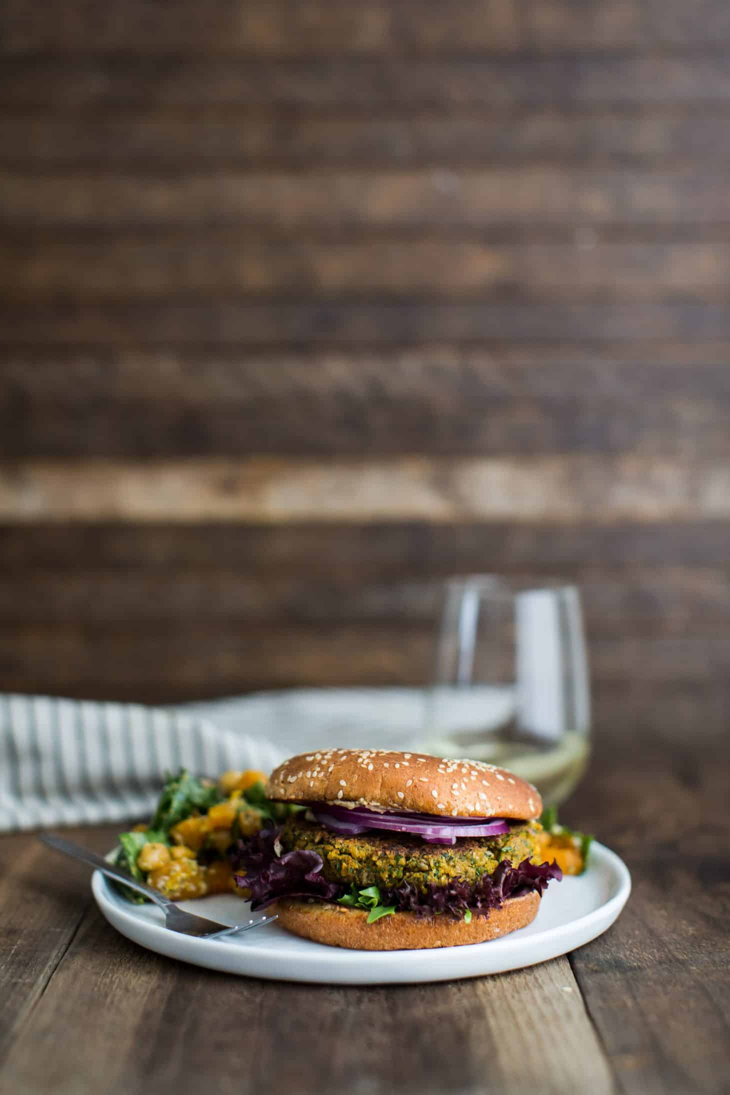 Easy Chickpea Burgers with Spinach