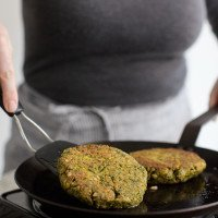 Cooking chickpea burgers