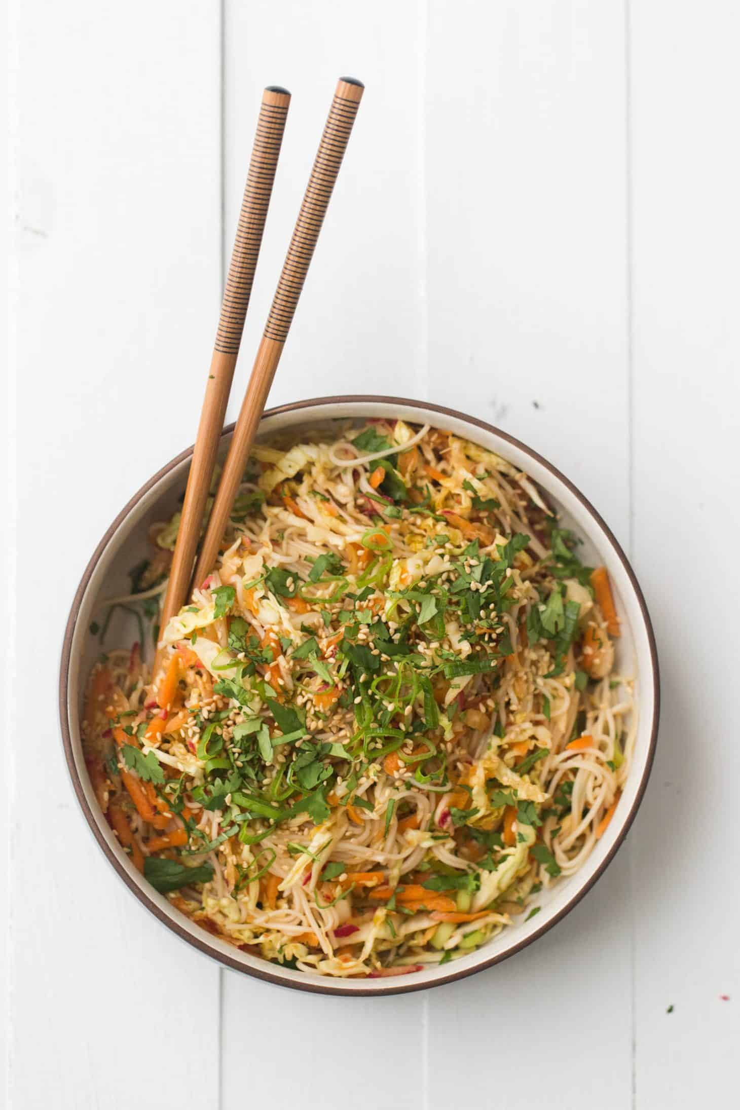 Cold Noodle Salad with Cabbage