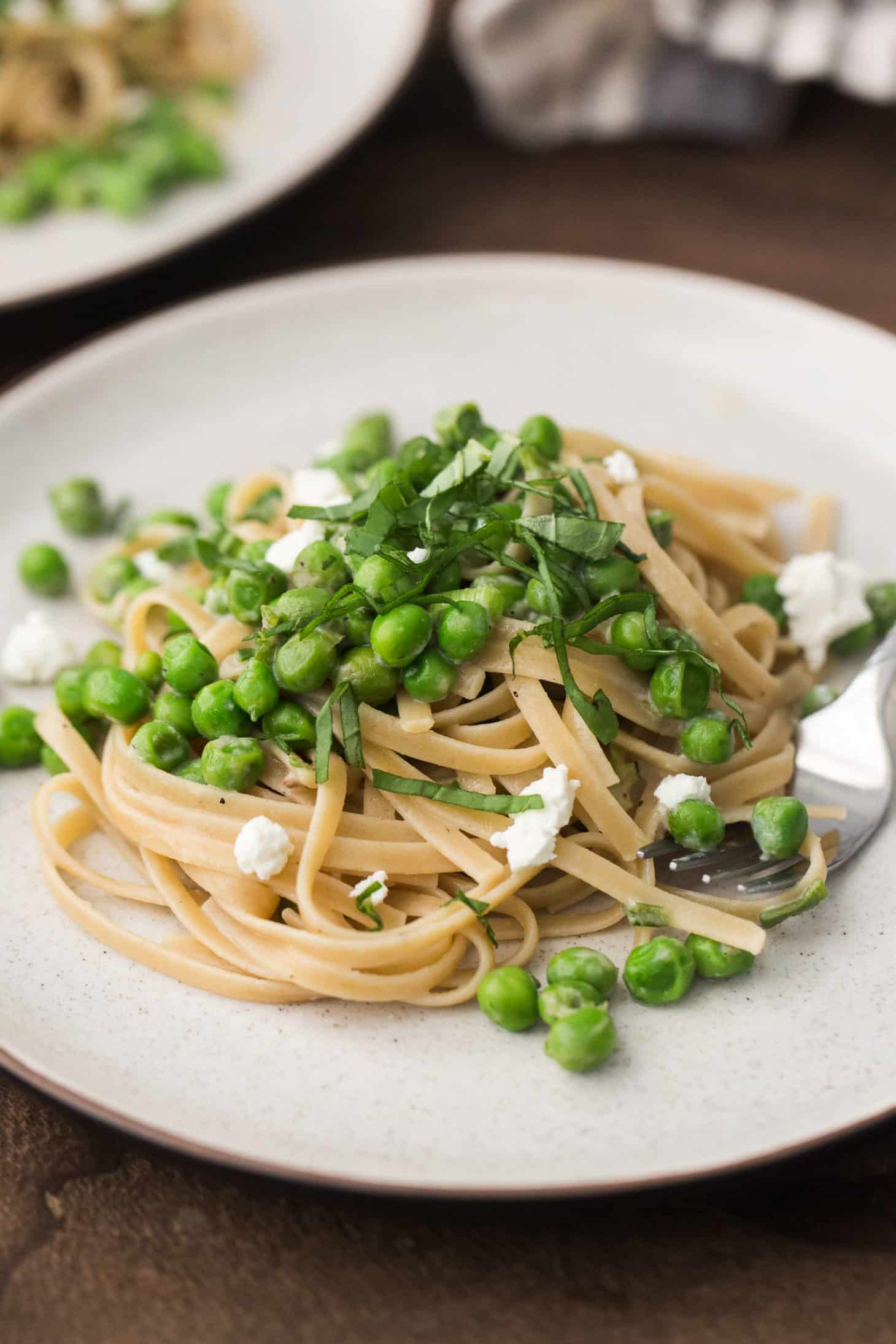 Pea Pasta with Goat Cheese and Basil