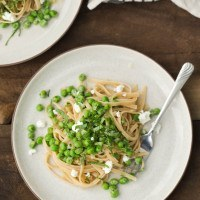 Pea Pasta with Goat Cheese Sauce