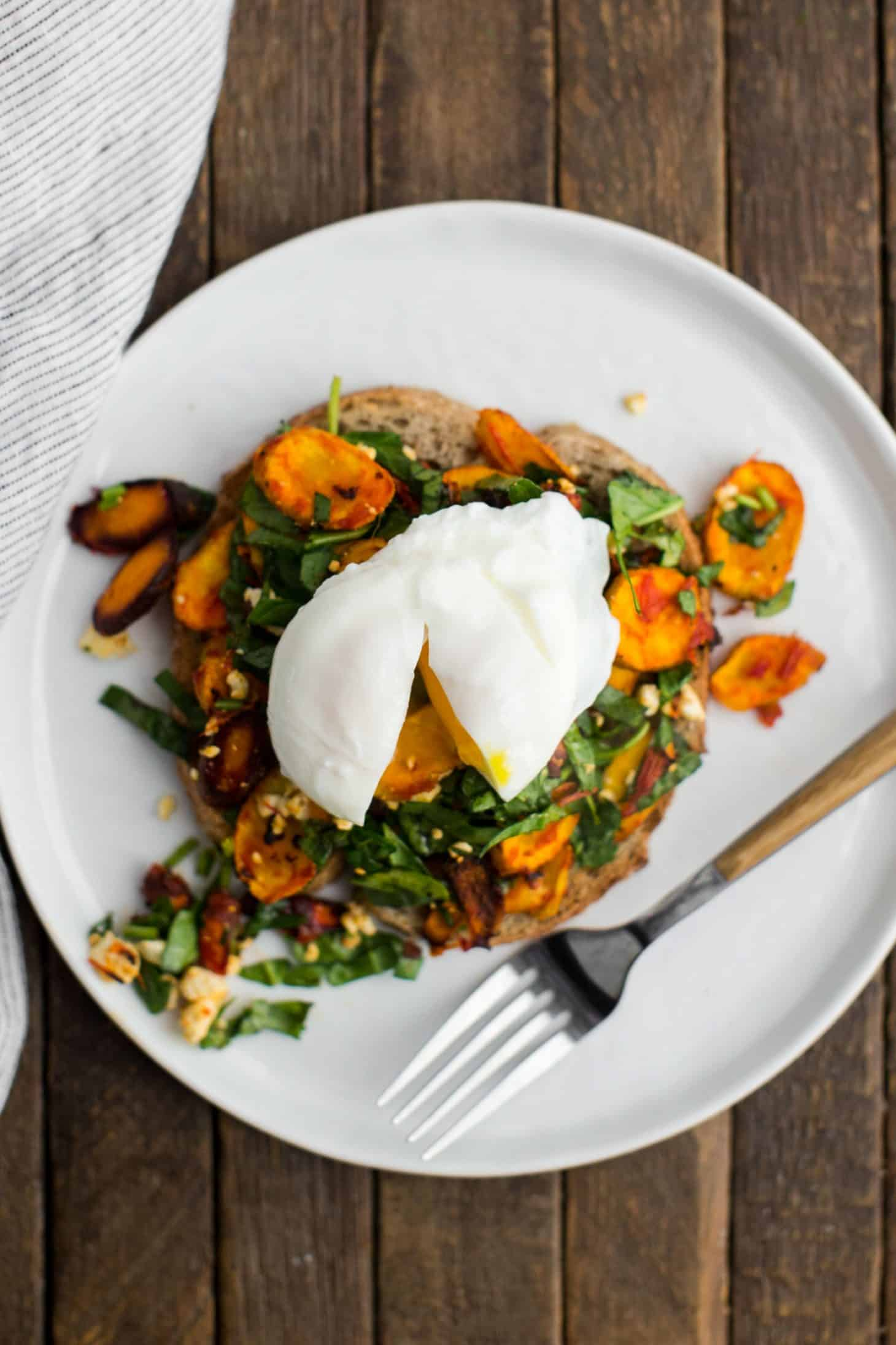 Harissa Roasted Carrot Toast with Poached Egg