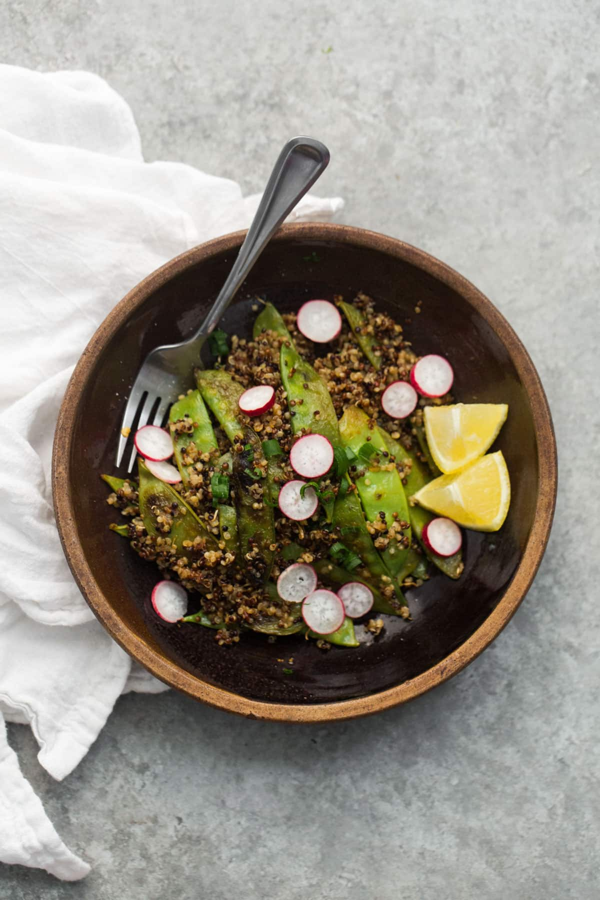 Spicy Snow Peas with Quinoa and Radishes