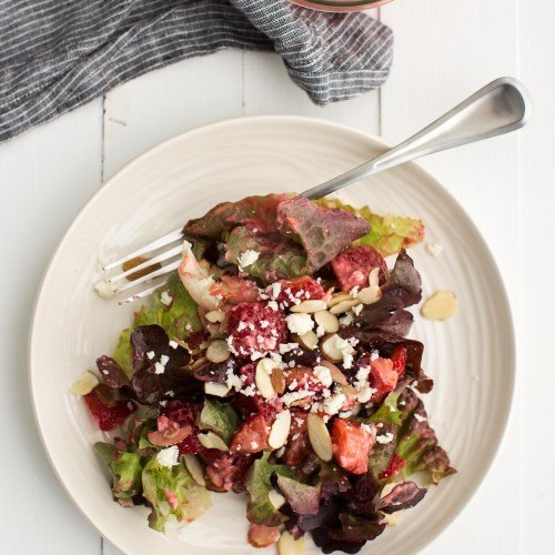 Strawberry Salad with Raspberry Vinaigrette