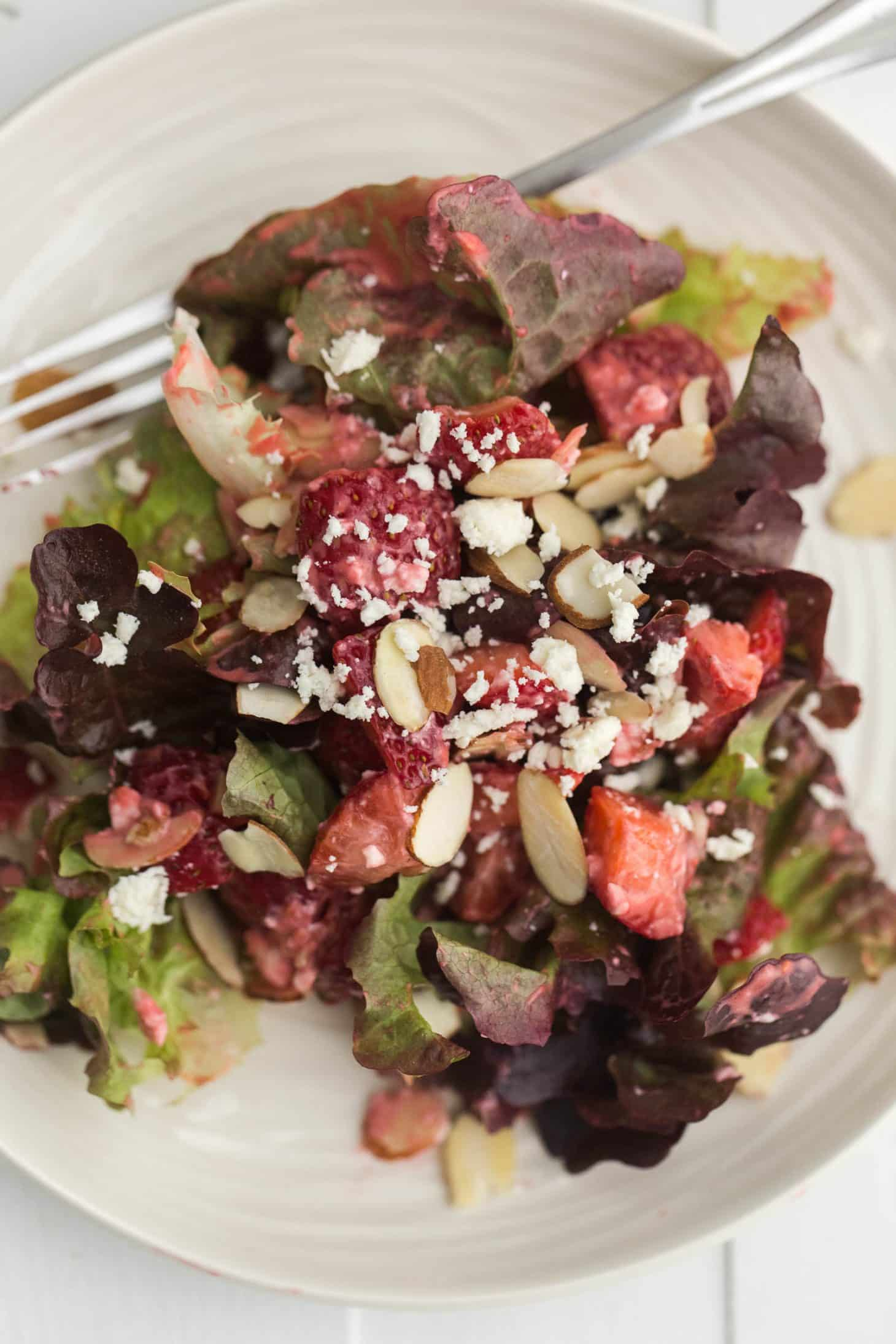 Strawberry Salad with Raspberry Vinaigrette and Almonds