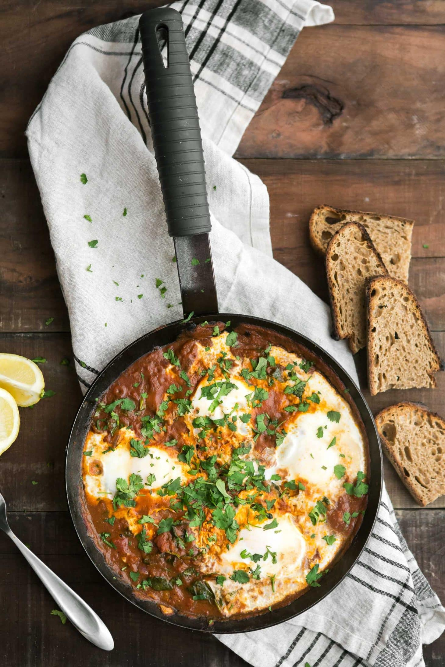 Tomato Curried Eggs with Spinach | @naturallyella
