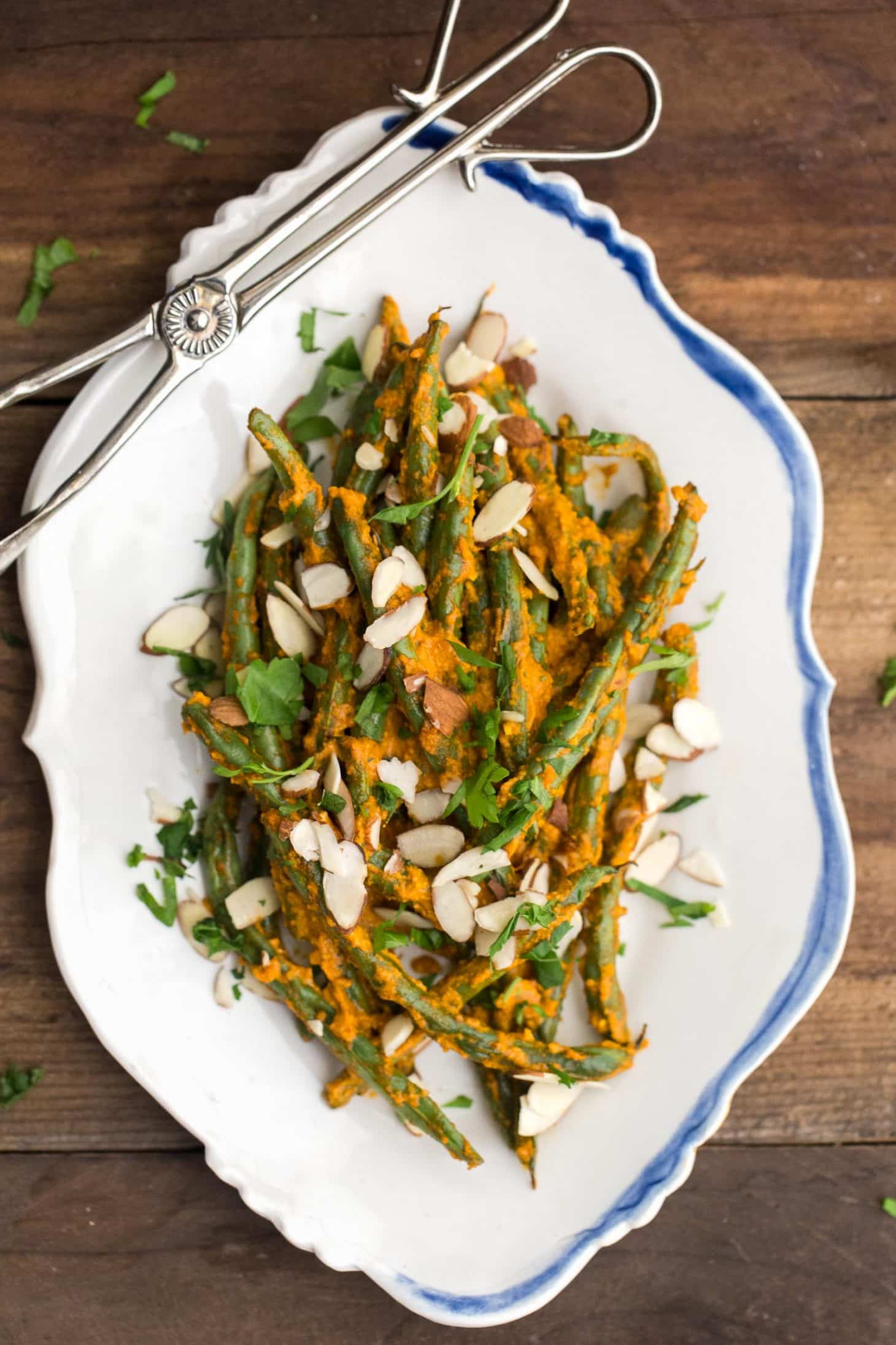 Roasted Green Beans with Romesco and Almonds | @naturallyella