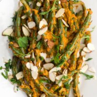 Roasted Green Beans with Romesco
