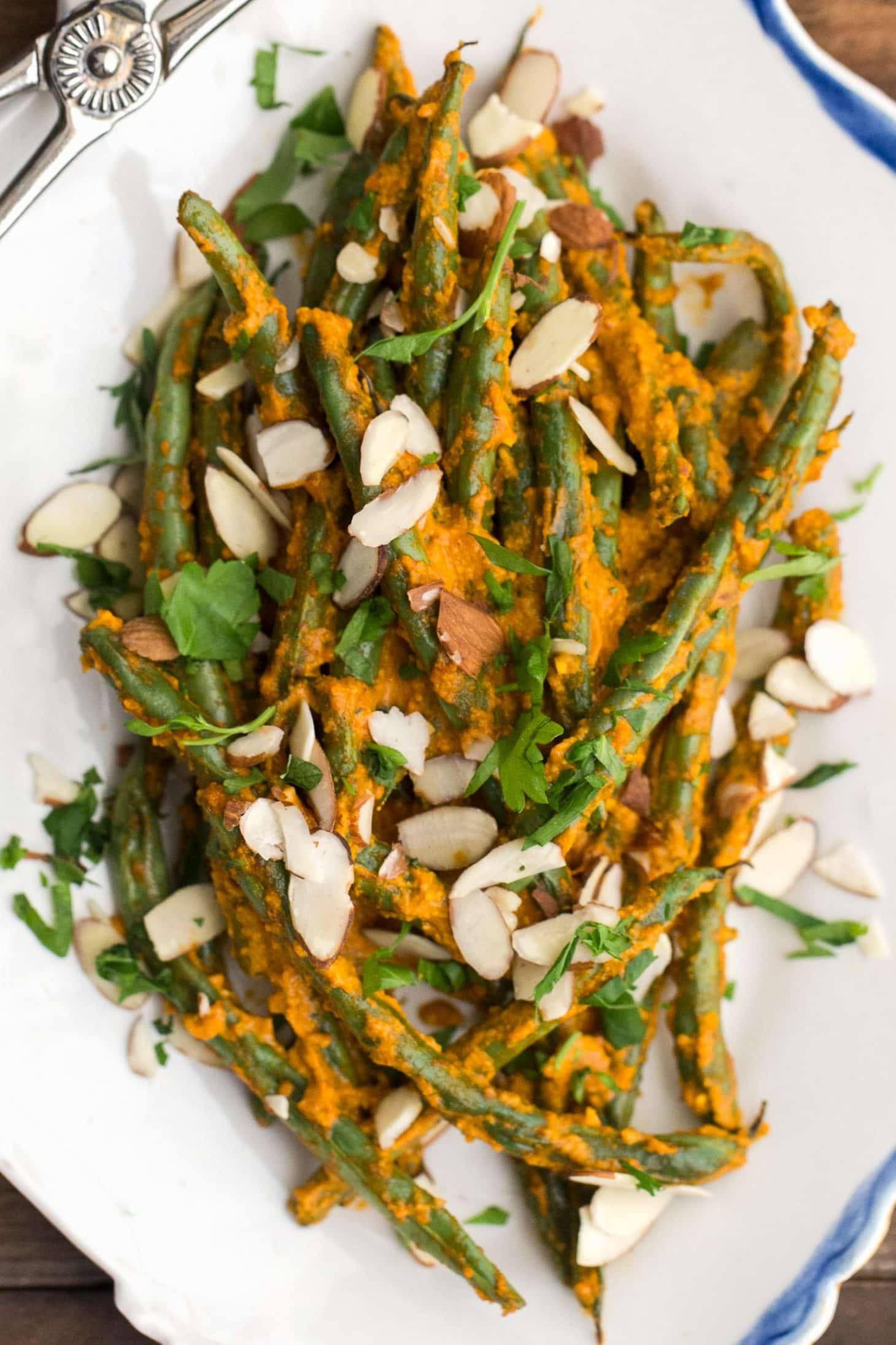 Roasted Green Beans with Romesco | @naturallyella