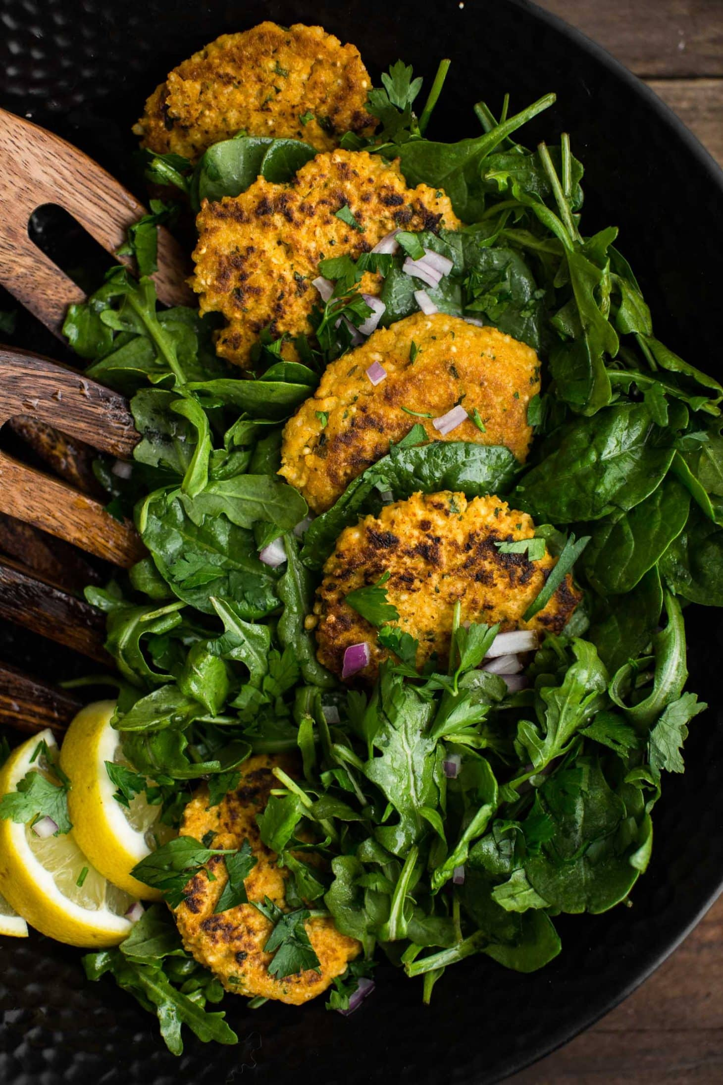 Cajun Millet Cakes with Lemon-Greens | http://naturallyella.com