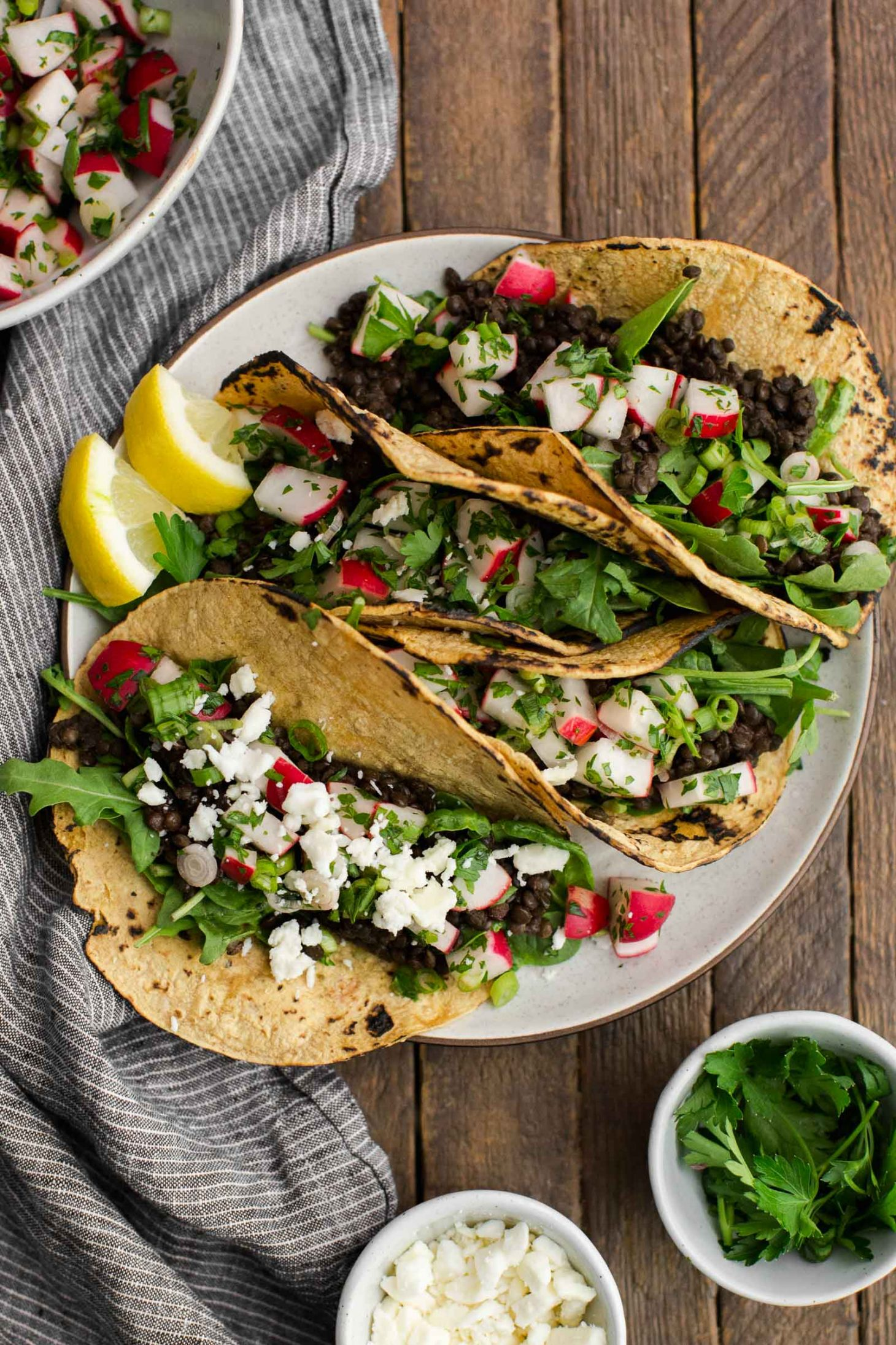 Spicy Lentil Tacos with Radish Salsa and Feta