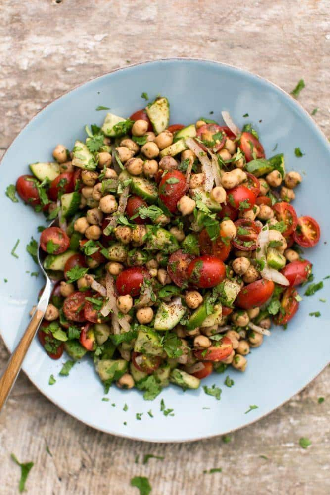 Sumac Spiced Chickpea Cucumber Salad