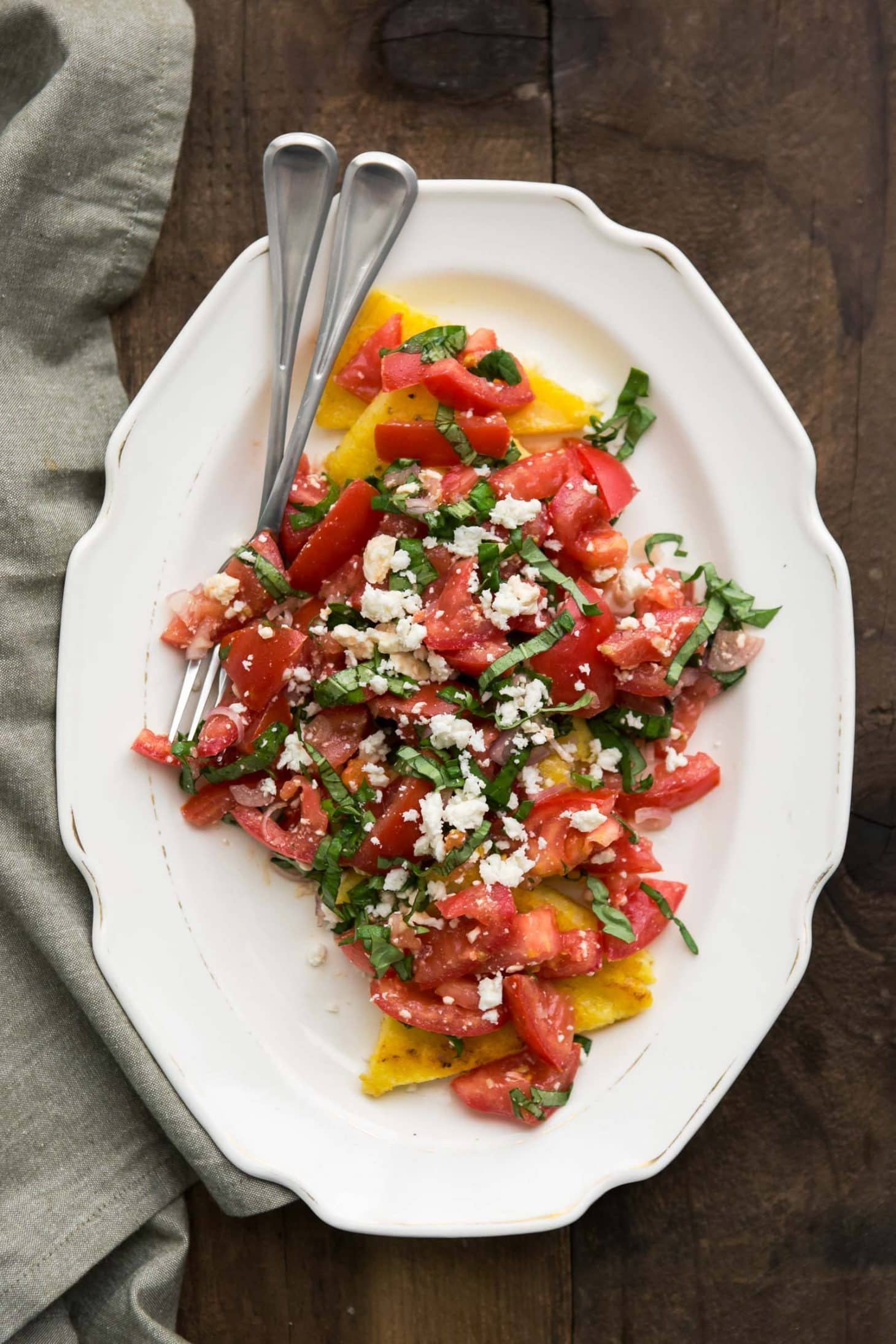 Fried Polenta with Tomato Salad
