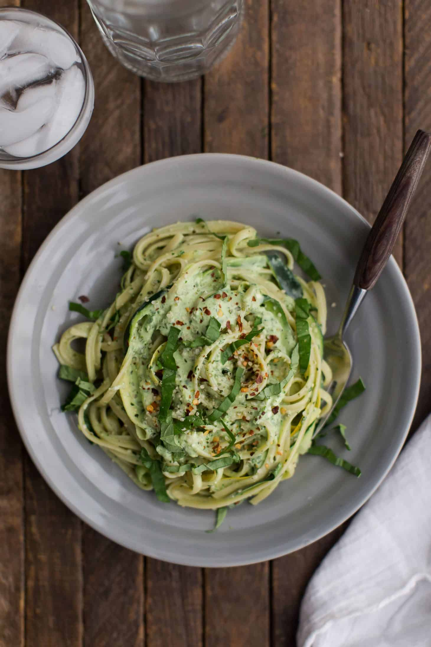 Summer Squash Pasta with Basil-Yogurt Sauce | @naturallyella
