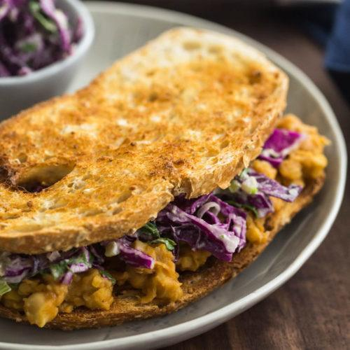 Vegan BBQ Chickpea Sandwich with Tahini Slaw | @naturallyella