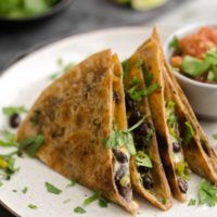 Black Bean Quesadillas with Garlicky Shishito Peppers