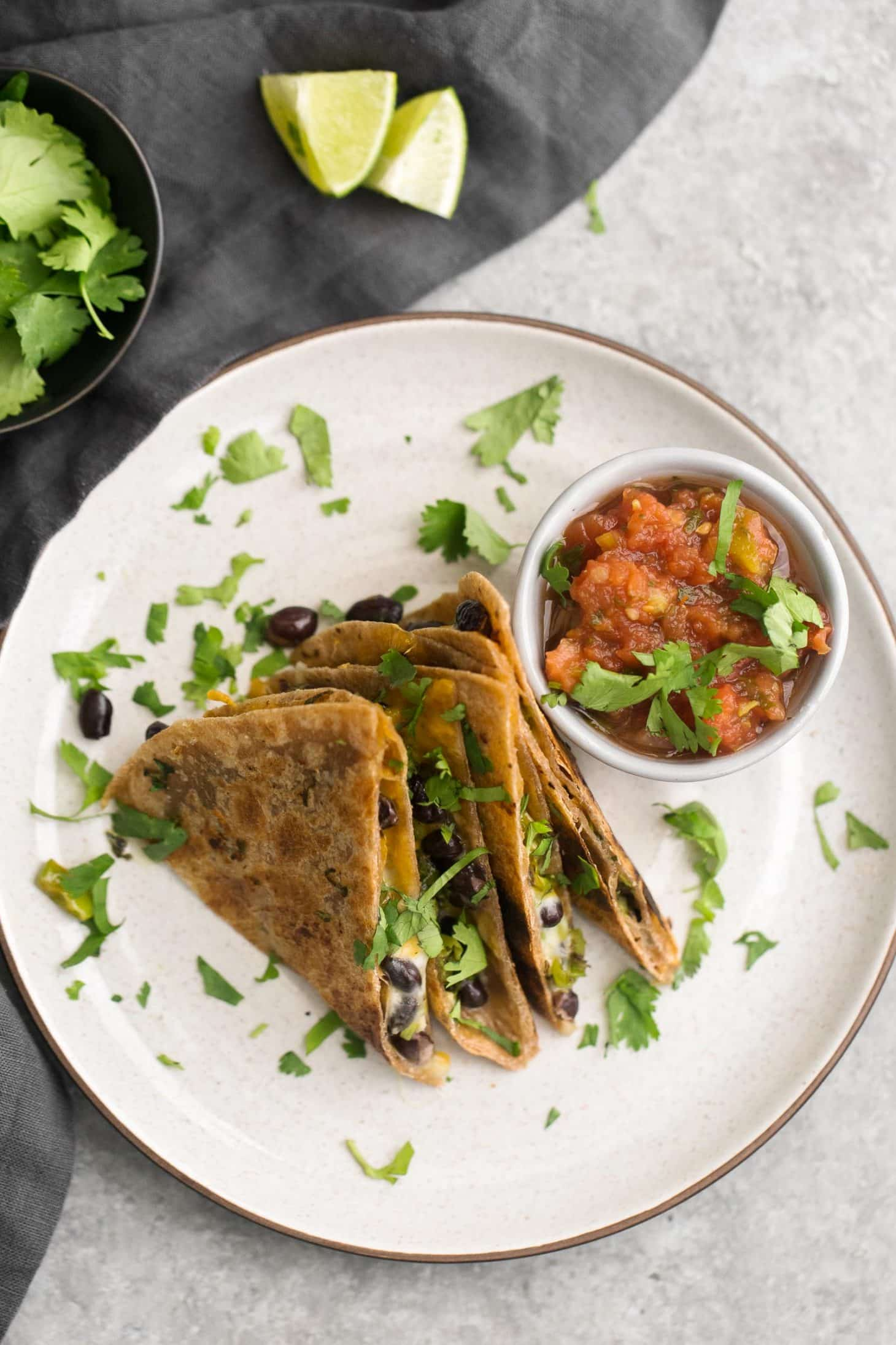 Garlicky Shishito Pepper Black Bean Quesadillas | @naturallyella