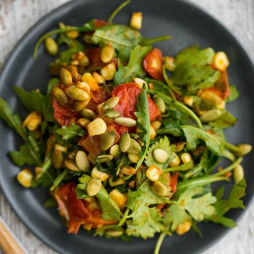 Vegan Roasted Sweet Corn Salad with Pepitas | @naturallyella