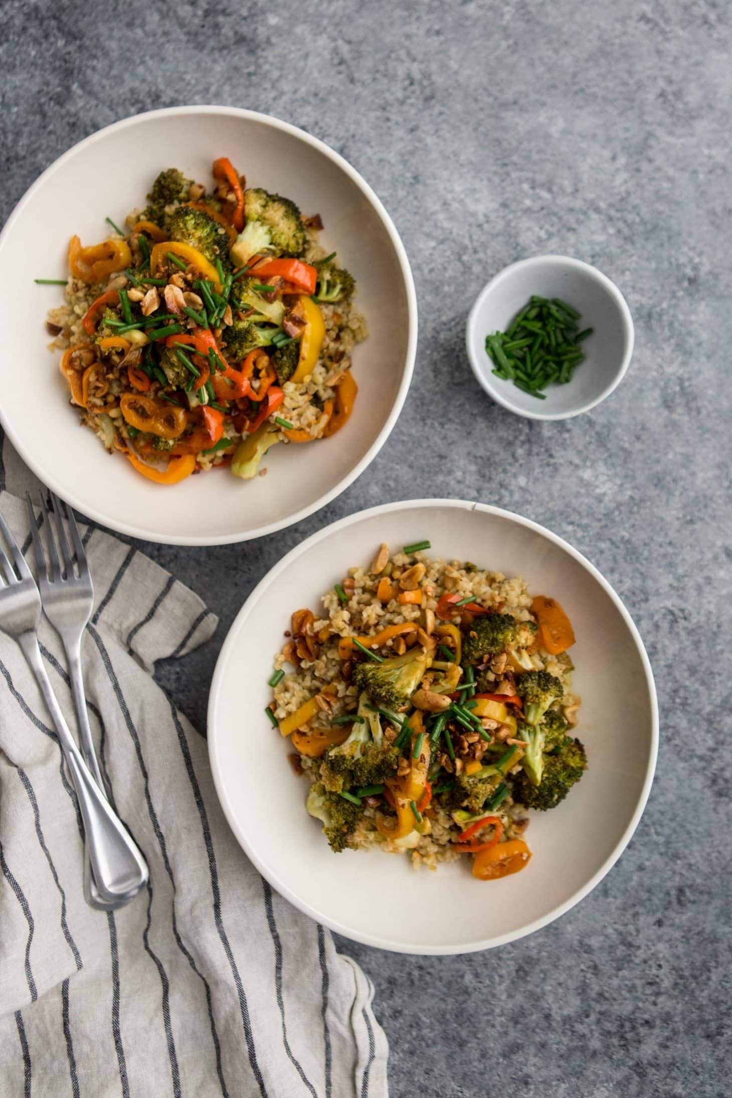 Chili Roasted Broccoli Bowls with Freekeh | @naturallyella
