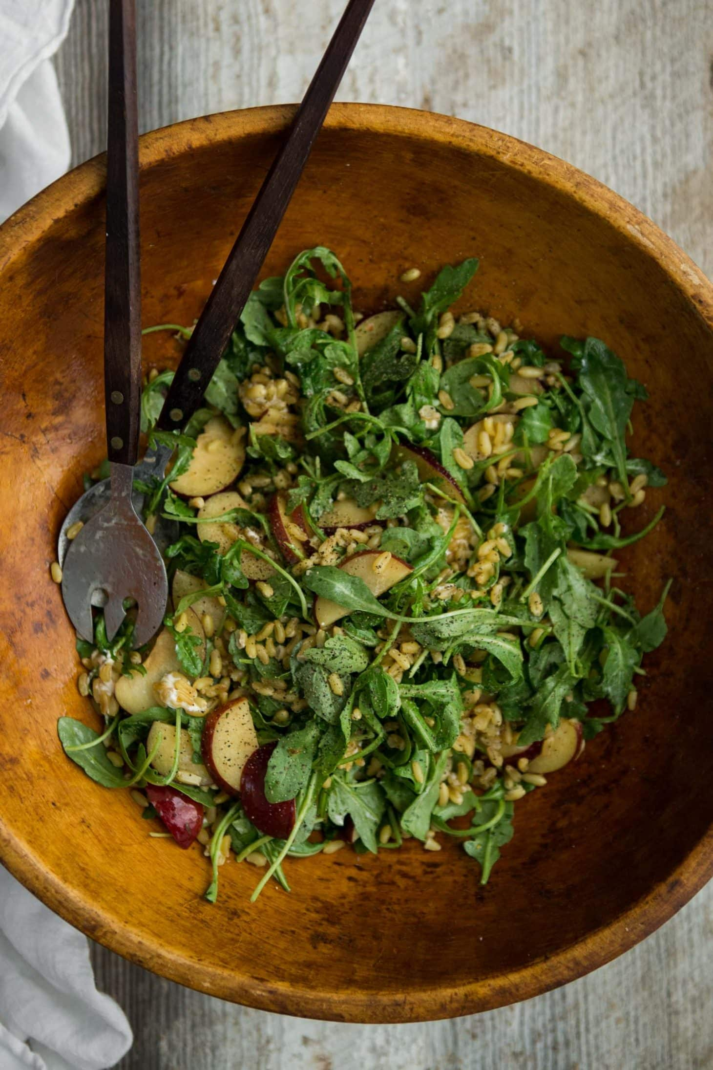 Kamut and Plum Salad with Chili Dressing | @naturallyella