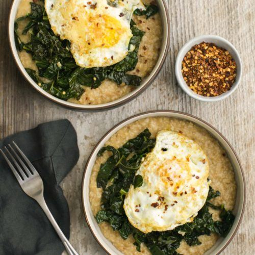 Savory Oatmeal with Garlicky Kale with Fried Eggs | @naturallylella