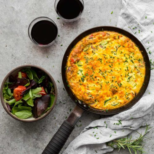 Summer Vegetable Frittata with Zucchini, Peppers, and Sweet Corn | @naturallyella