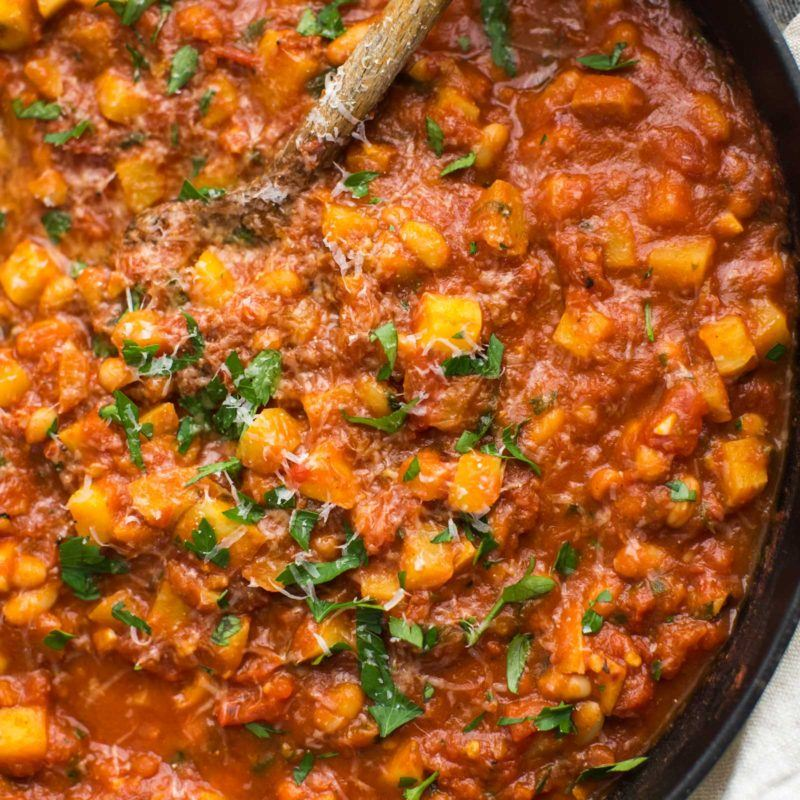 White Beans and Potatoes in Spicy Tomato Sauce | @naturallyella