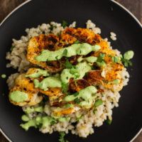 Cajun Cauliflower with Cilantro Avocado Sauce