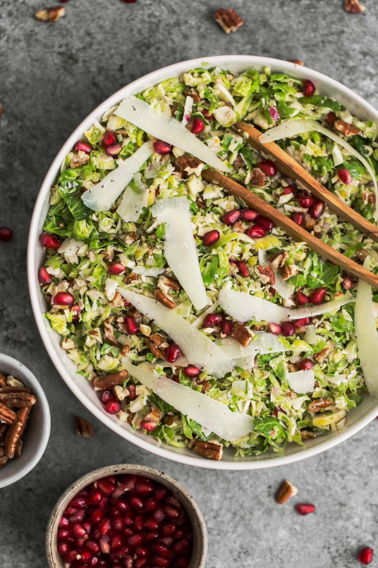 Shaved Brussels Sprout Salad with Manchego and Pomegranate | @naturallyella