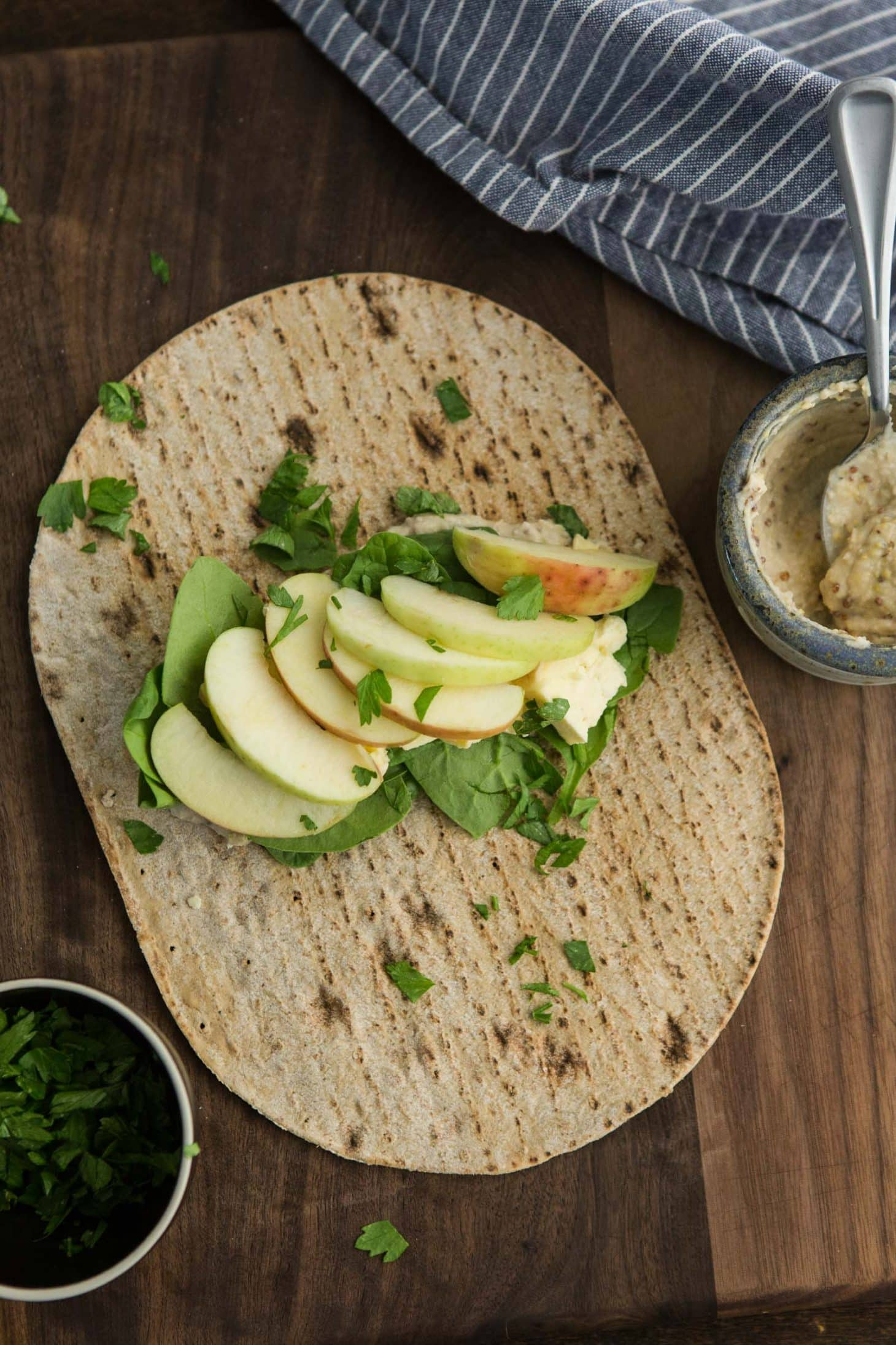 apple wrap with cheese and mustard hummus | naturally ella