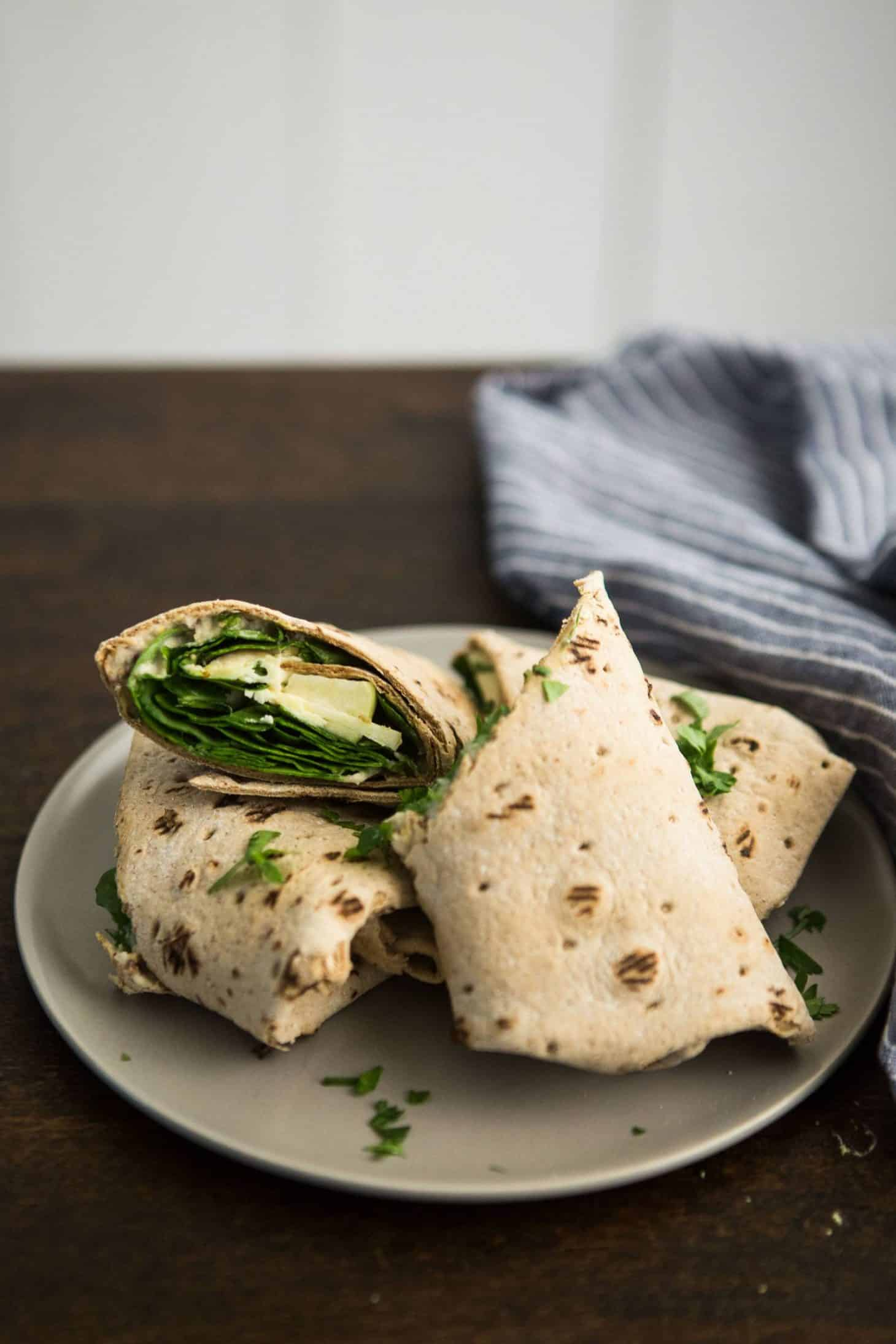 Apple Wrap with Cheese, spinach and Mustard Hummus | @naturallyella