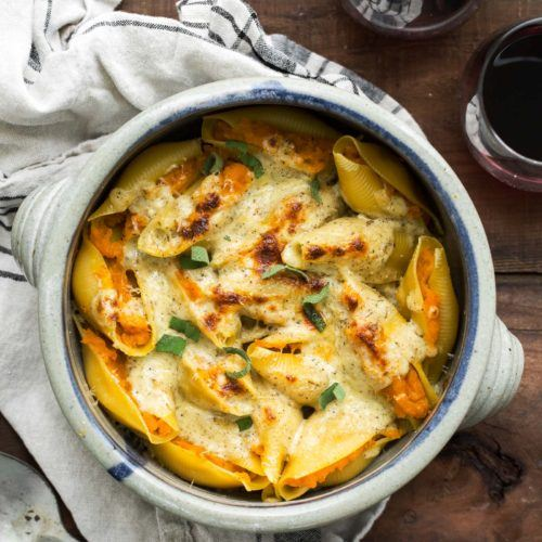 Butternut Squash Stuffed Shells with Herbed Cream Sauce | @naturallyella