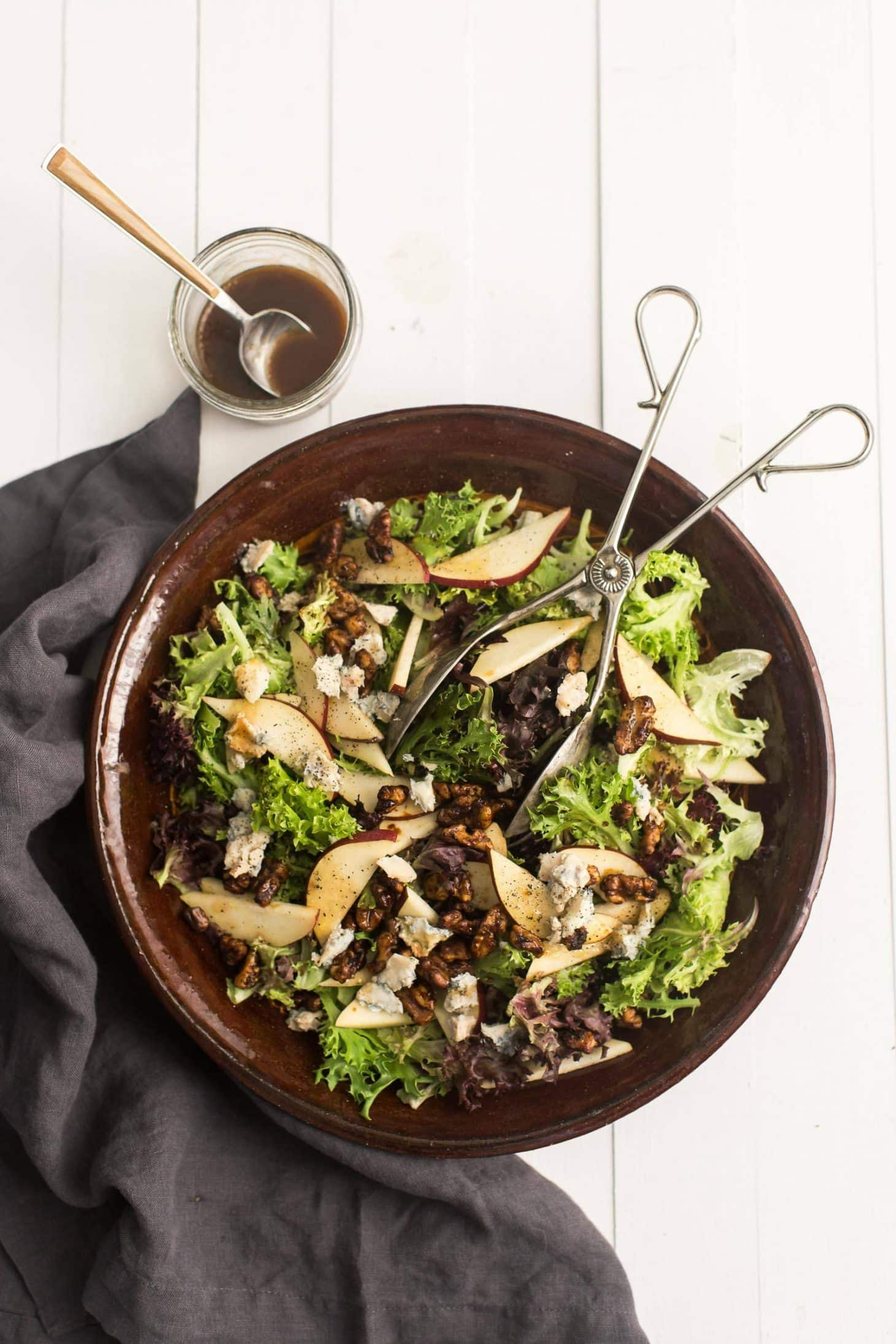 Pear Salad with Gorgonzola and Walnuts | @naturallyella