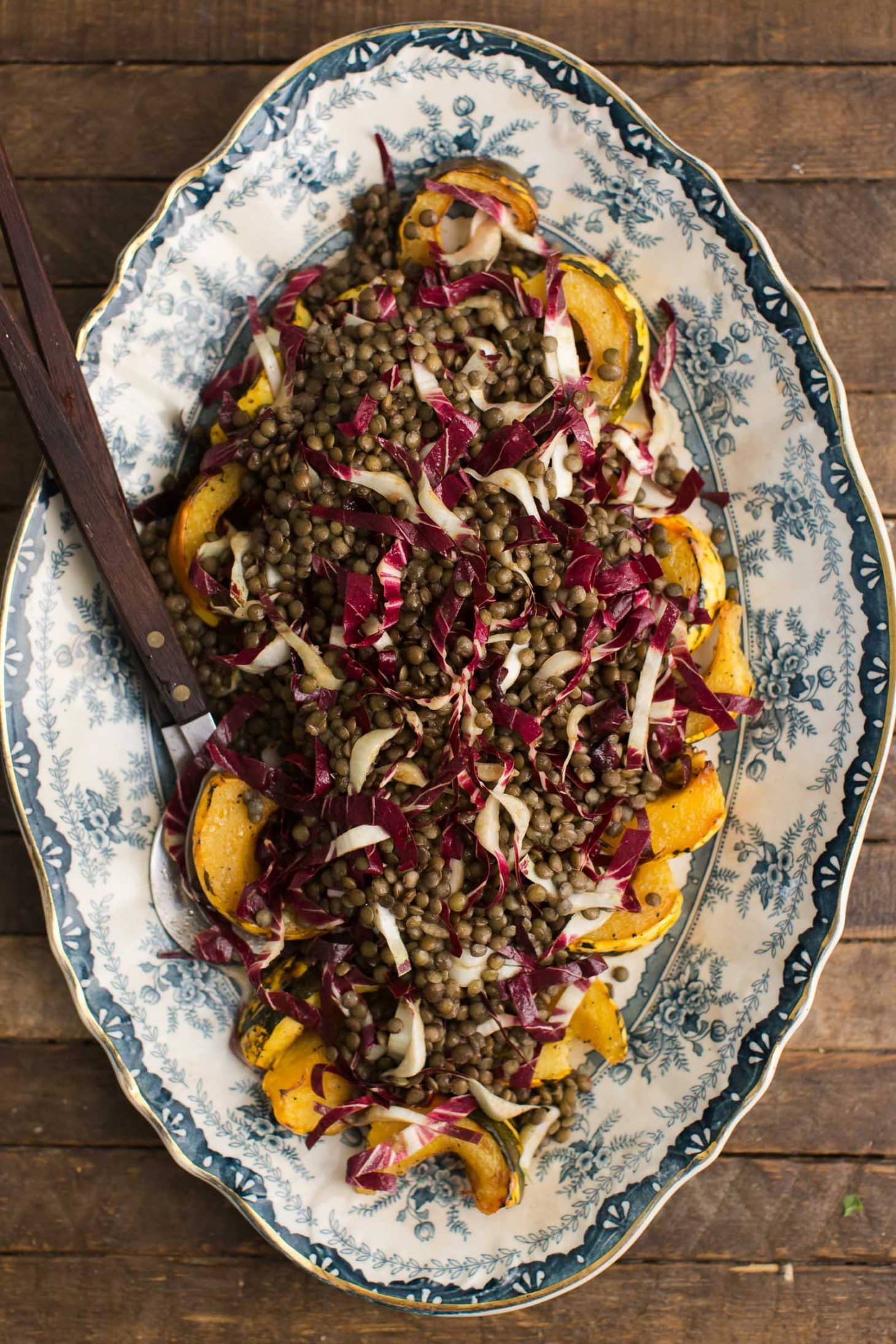 Roasted Acorn Squash with Radicchio Lentil Salad | @naturallyella