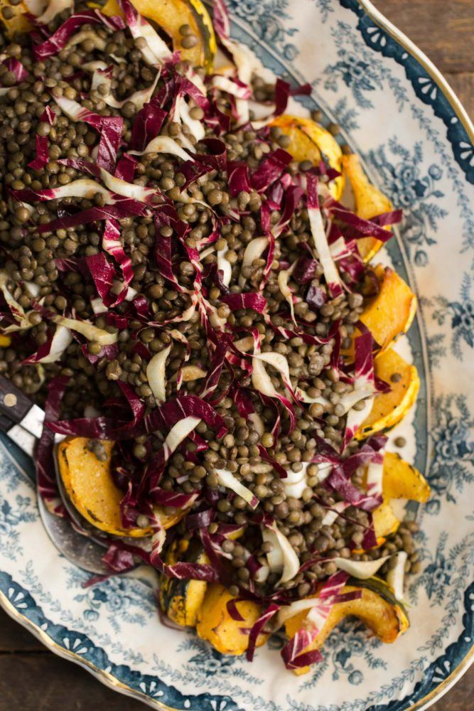 Roasted Acorn Squash with Radicchio Lentil Salad and Chili Vinegar Dressing | @naturallyella
