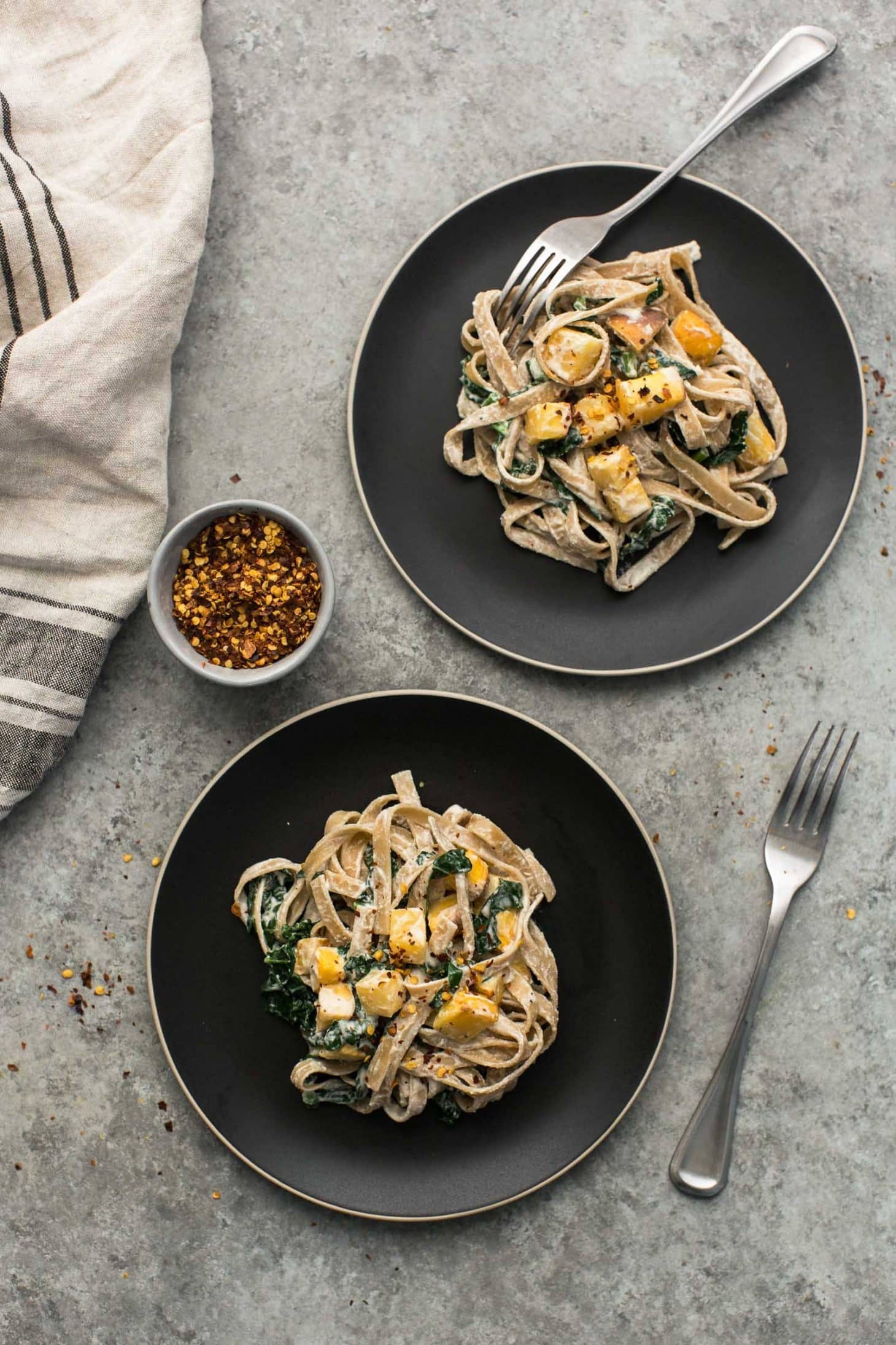 Roasted Rutabaga Pasta with Lemon Cashew Sauce | @naturallyella