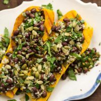 Stuffed Delicata with Chimichurri Black Beans