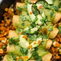 Root Vegetable Enchiladas with Cilantro Avocado Sauce