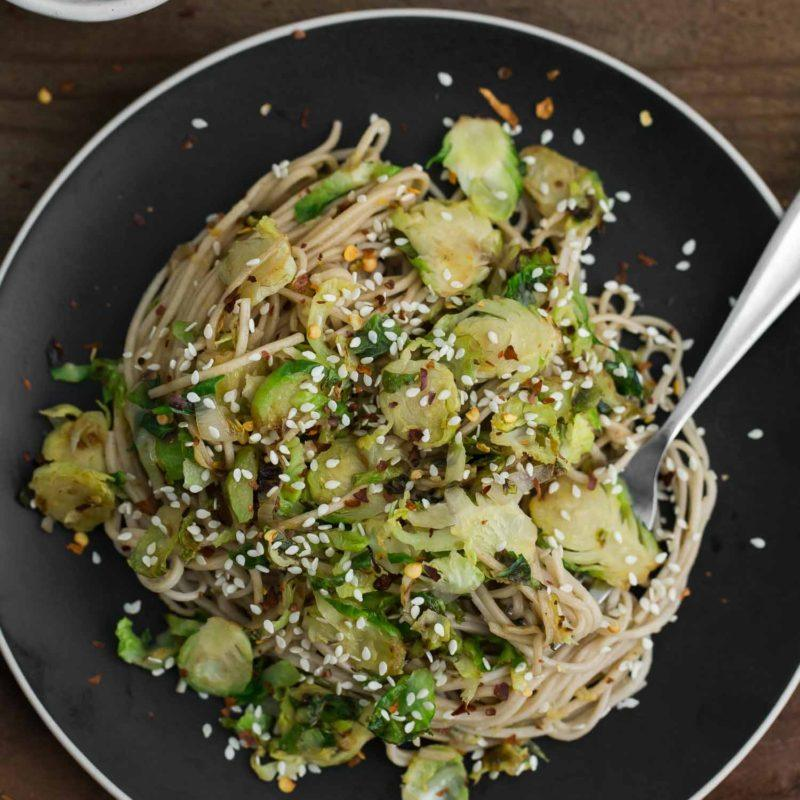 Sesame Brussels Sprout Soba Bowl | @naturallyella