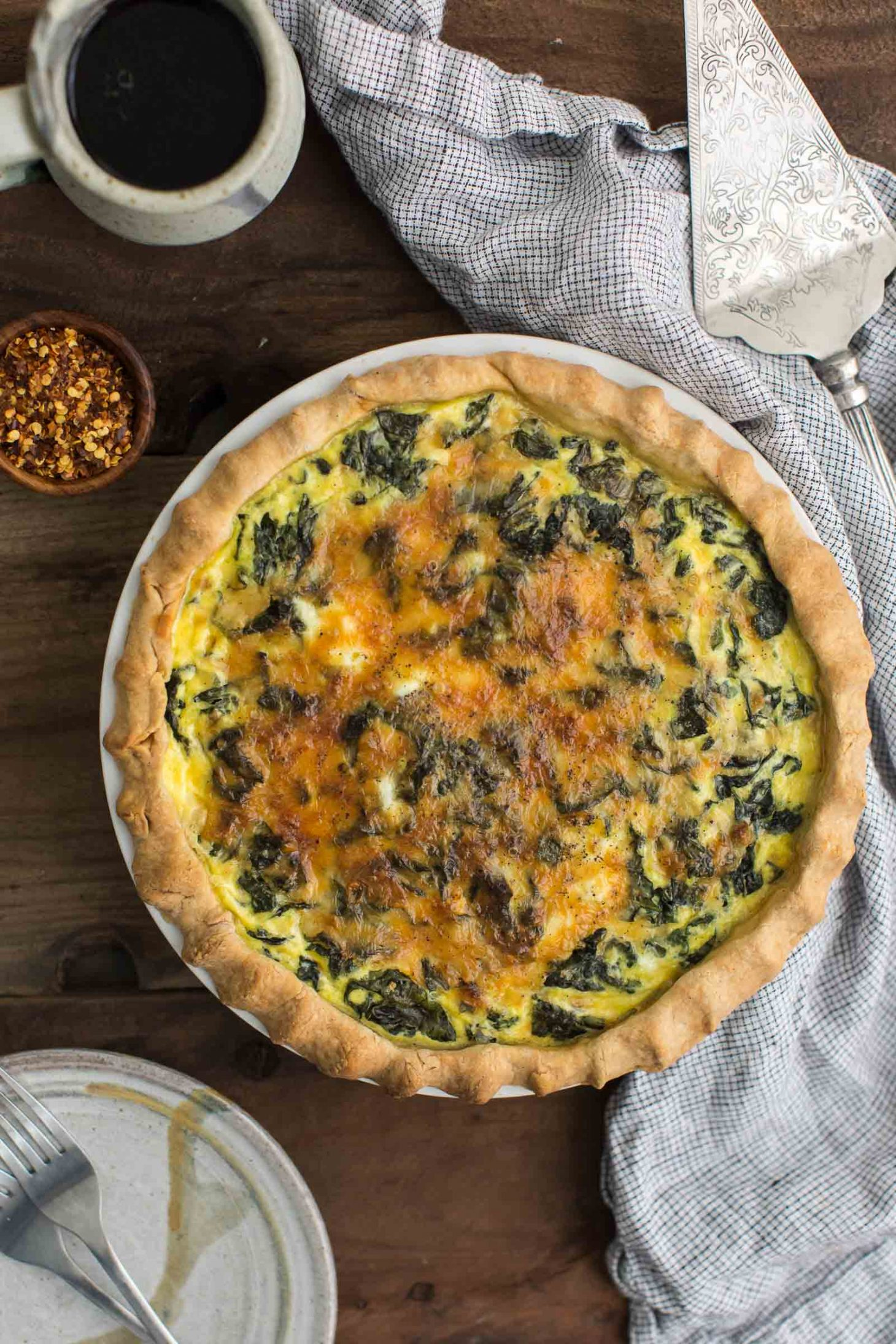 Kale Quiche with Garlic and Homemade Crust | @naturallyella