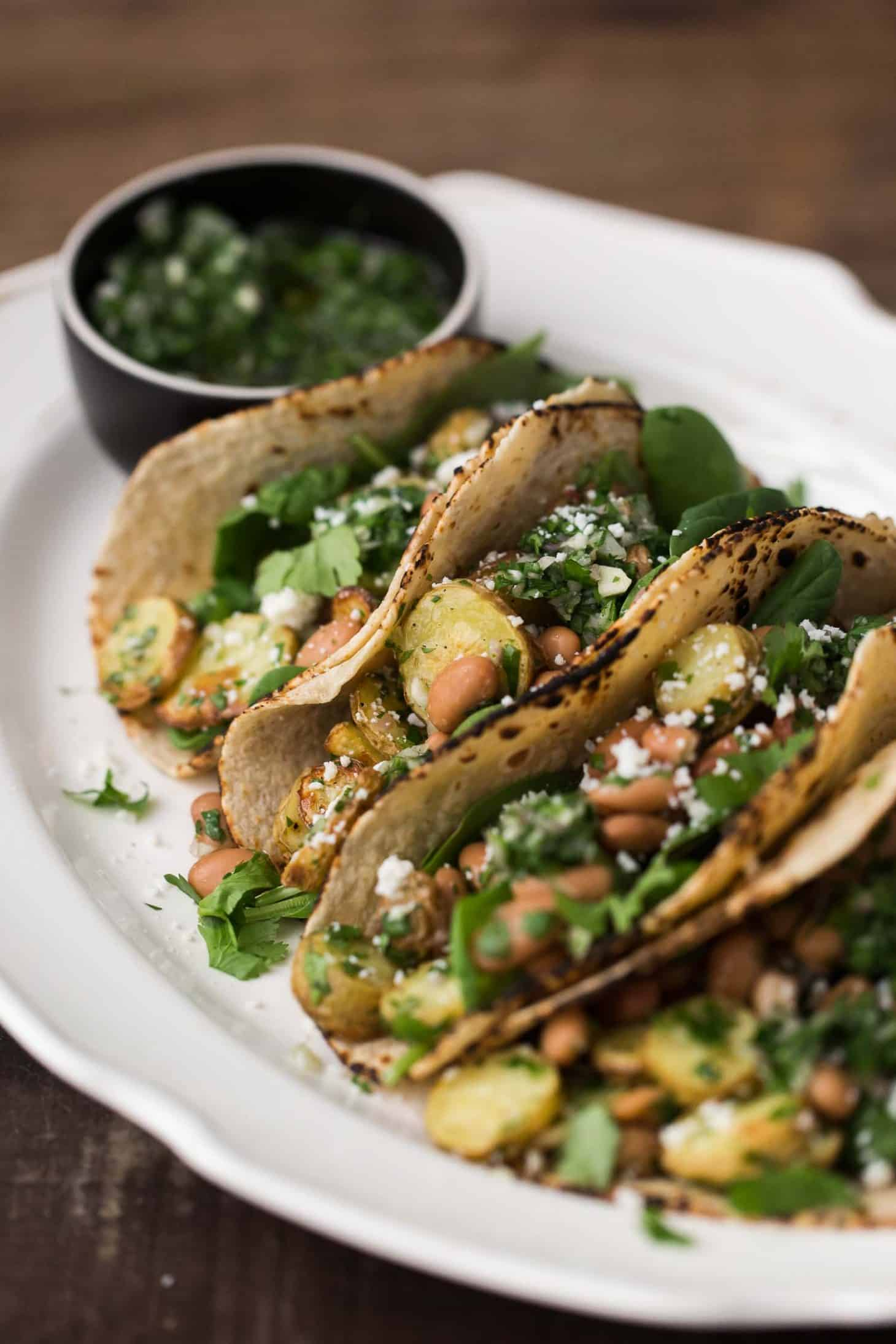 Chimichurri Pinto Bean and Potato Tacos | @naturallyella