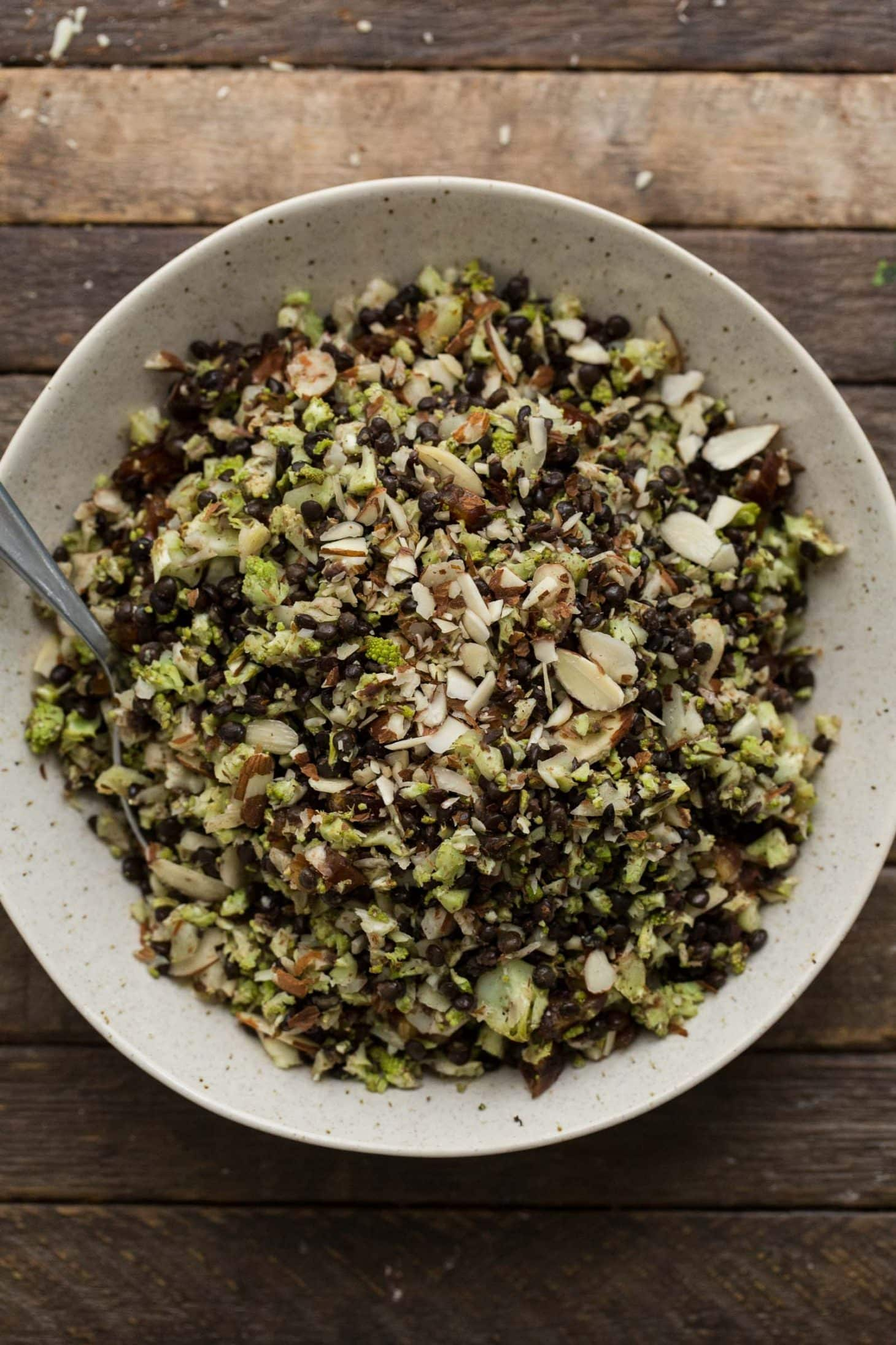Roasted Romanesco Black Lentil Pilaf | @naturallyella