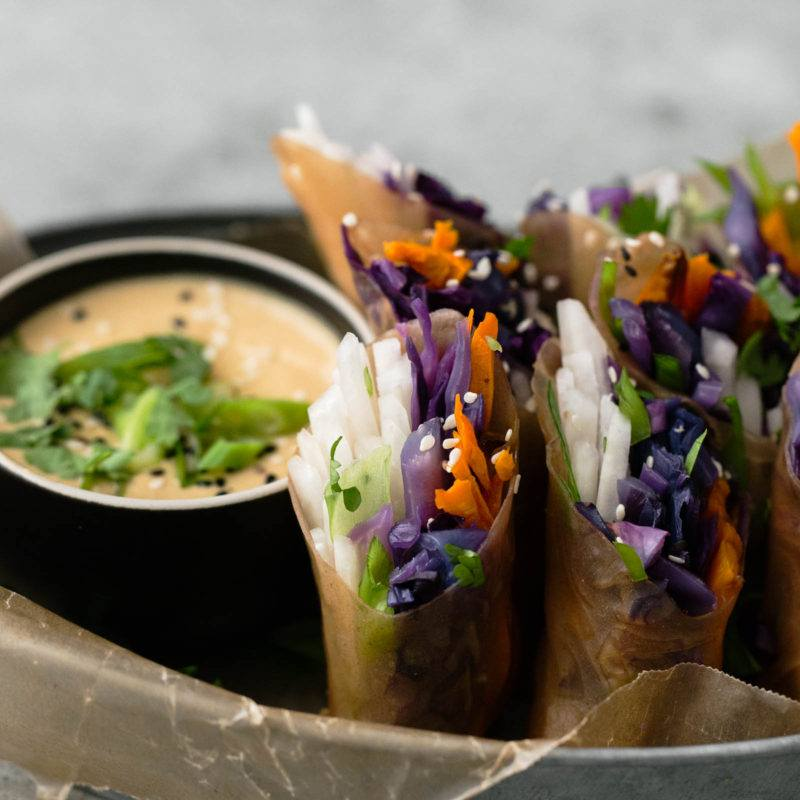 Cabbage Summer Rolls with Roasted Sweet Potatoes ...