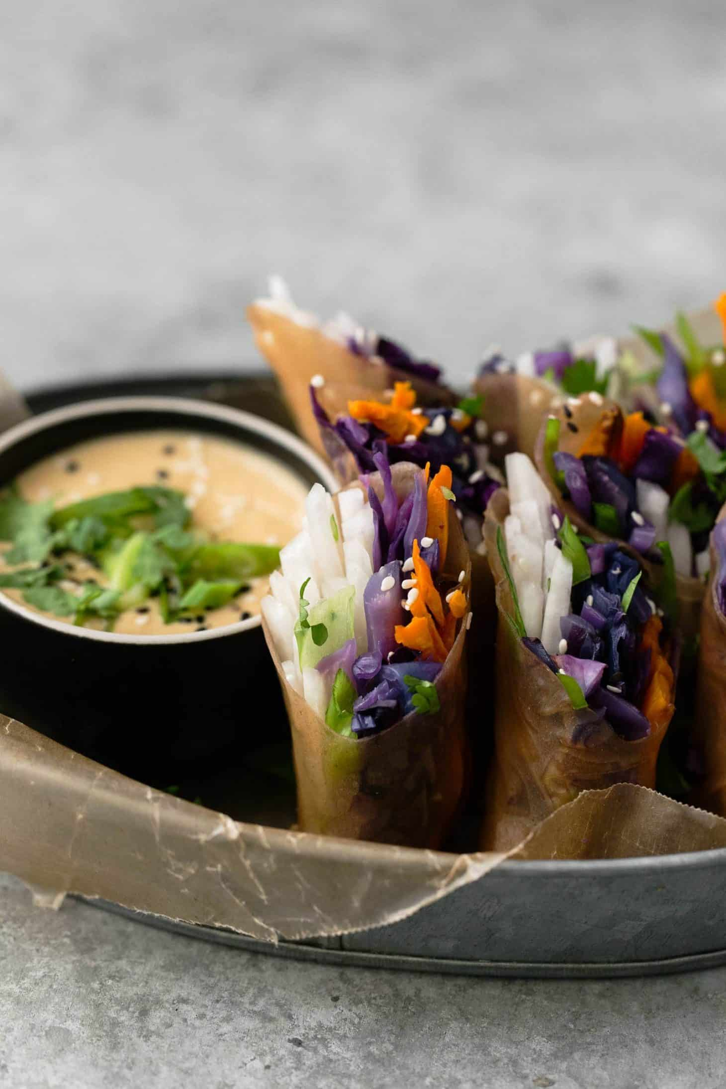 Roasted Sweet Potato Cabbage Summer Rolls | @naturallyella