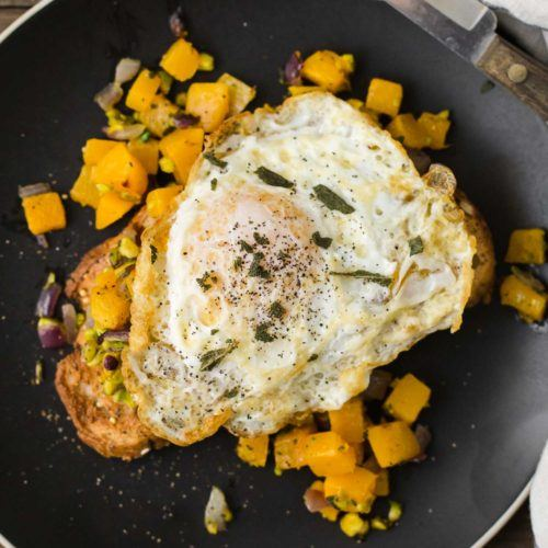 Butternut Squash Toast with Pistachios and Sage | @naturallyella