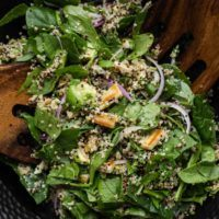 Halloumi Salad with Spinach and Quinoa