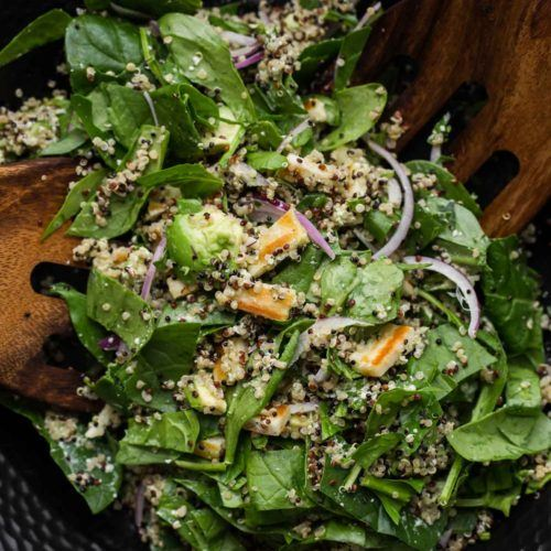 Halloumi Salad with Spinach and Quinoa | @naturallyella