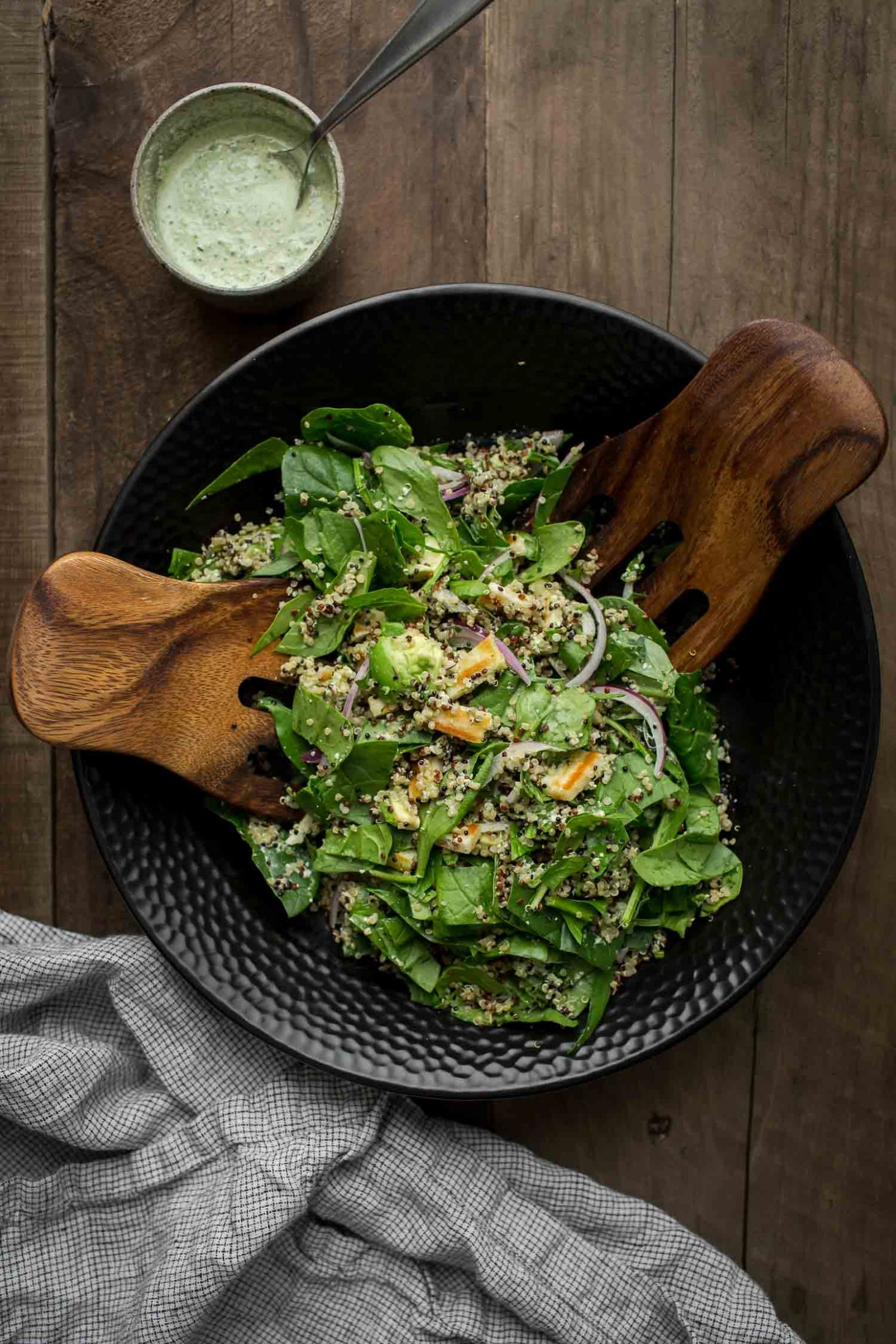 Halloumi Salad with Spinach, Quinoa, and Herbed Hemp Dressing | @naturallyella